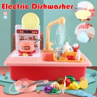 Kid Play Cutlery Electric Dishwasher Set Childrens Pretend Play Kitchen