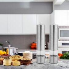 Electric Salt Pepper Grinder Set Ceramic Mills Stainless Steel Shakers Spice