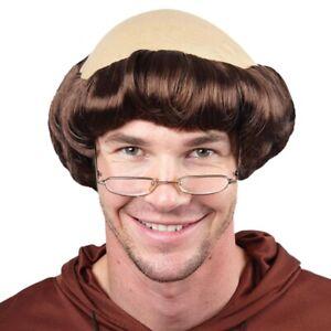 Monk Wig Friar Tuck Abbott Mens Religious Fancy Dress Bald Head Adults New