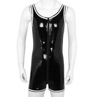 Herren Body Lack Leder Unterhemd mit Bein Unterwäsche Leotard Bodysuit Gr. M-XXL