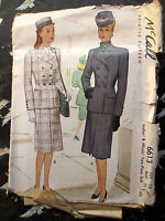 Vintage 1940s mcCall Two Piece Suit Dress Pattern SIZE 14 BUST 32  CUT COMPLETE