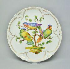 (g513) KPM Berlino Piatti ornamentali, uccelli pittura con vivaci pappagalli, reliefzierat
