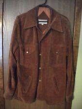 Vintage 1970s Mens 44 McGregor Brown Suede Leather Snap Front Coat HIPPIE ERA