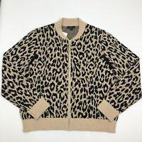 J. Crew Jacket Beige Black Size XXL Leopard-Print wool blend Full-Zip $148