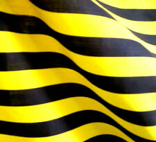 """YELLOW BLACK 1 INCH AWNING BEE STRIPE POLY COTTON STRIPED FABRIC 60"""" BY THE YARD"""