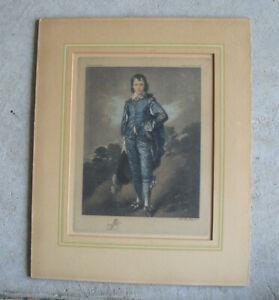 Vintage 1930s Block Print The Blue Boy No 59 Chelsea Art Pub