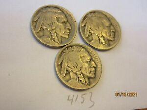 1913-P,1913-D & 1913-S Type 1 Buffalo Nickels