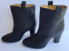 Ralph Lauren Women's 9M US Black Stacked Heel Pull On Ankle Boots Preowned