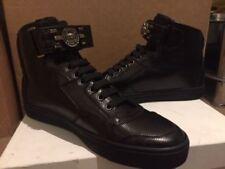 VERSACE MEDUSA LIZARD En Relieve De Cuero Negro Tobillo Alto Zapatillas Tenis Reino Unido 8/EU 42