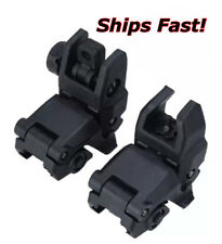 Tactical BUS Front And Rear Set Flip Up Back Up Sights - BLACK