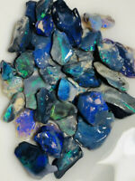 Australian Rough GEM BLACK Opal 100cts L/Ridge lots Multi Colour Cutters WD1651