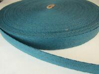 15 ft of 1 in soft OCEAN BLUE DARK TEAL spun poly belt webbing crafts fashion