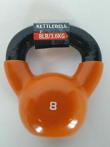 SPRI Kettlebell Weight 8lb Deluxe Cast Iron Vinyl Coated Comfort Grip Handle