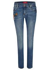 s.Oliver Damen Jeans - Denim Shape Slim Jeans mit Blumen-Stickerei