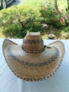 Extra Wide Brim Rustic Palm Leaf Sun Hats,Sombrero Para Trabajo Horma Extra Gran