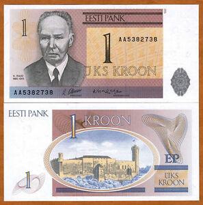 Estonia, 1 Kroon, 1992, P-69, AD-Prefix, Ex-USSR, UNC