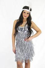 Ladies Costume Fancy Dress Up HT Silver / Grey  20's Flapper Dress Sz 8,10,12,14