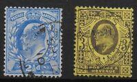 SG230 & 232. De La Rue 2&1/2d. & 3d. Very Lightly Used. Fresh Colours.  Ref:0510