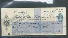 wbc. - CHEQUE - CH1354- USED -1941/42- BARCLAYS BANK, LLANWRTYD WELLS