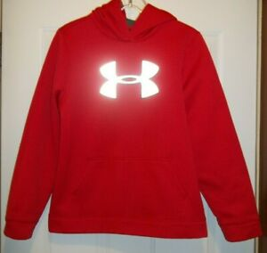 Under Armour Youth Boy's Loose Pullover Hoodie Big REFLECTIVE Logo Red Size XL