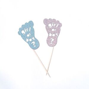 Girl Or Boy Toppers Gender Reveal Cupcake Toppers Baby Feet Cake Picks Pink Blue
