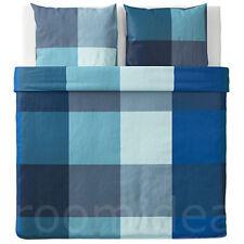 IKEA BRUNKRISSLA 3 tlg Bettwäsche Set 240x220 80x80 Bettbezug blau grau NEU