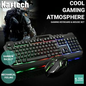 Kartech Gaming Keyboard & Mouse Set Wired Mechanical Feeling Rainbow LED Backlit