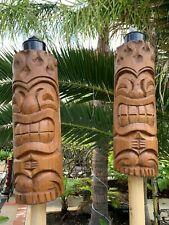 New Flame Head Tiki Tiki Torch Smokin' Tikis Hawaii  SET OF 2
