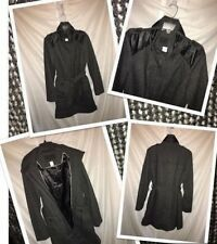 Ladies L Woven Wool Black Trench Coat. New! Stylish!