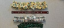 Longaberger Fabric Garters Lot of 3 Medium Large Floral Plaid Green Pre-owned