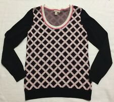 Banana Republic Black Sweater With Pink & White Basketweave Pattern Sz L EEUC