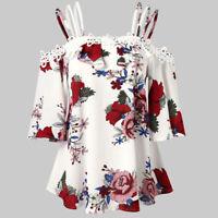 Plus Size Women Floral Print Off Shoulder Half Sleeve Chiffon Shirt Tops Blouse