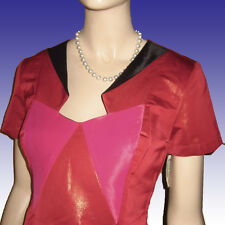 NWT $480 ANA LOCKING Dress Sz 8 TRI-COLOR BLOCK Couture Sheath Wet Look RED