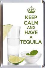 KEEP CALM and HAVE A TEQUILA with a shot of Tequila, Salt & Lime Fridge Magnet