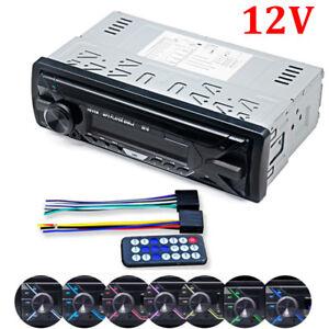 Single DIN Bluetooth Car Stereo Radio Audio MP3 Player Dash USB FM SD AUX 7 LED