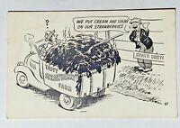 Tasty Strawberry Farm, Black and White Comic Postcard