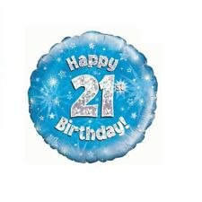 Happy 21st Birthday Holographic Blue Foil Balloon 45 cm (18 inch) Party Decor