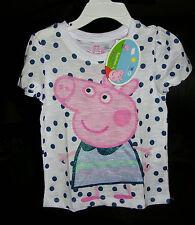 """""""PEPPA PIG"""" Adorable  POLKA DOT  GIRL'S SLUBBED TEE SHIRT SIZE 5  NWT"""