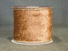 """Fall Into Color Spool  2.5"""" x 12' Light Brown Dark Gold Wire-Edged Velvet Ribbon"""