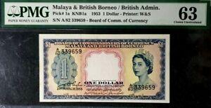 PMG 63 UNC 1953 MALAYA & BRITISH BORNEO 1 Dollars S/N-A/82 339659(+1 note)#17151