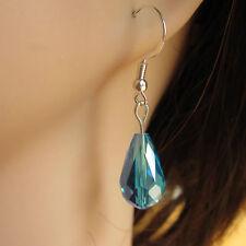 Beautiful Pair of Crystal Glass Drop Earring 925 Silver Hooks