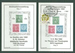 Block J16 Special Sheet 1982 Germany J W v Goethe Poet (2 pcs mint/SC)
