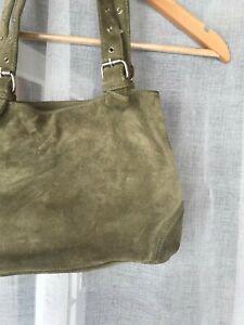 Y2K suede bag in green with adjustable buckle straps