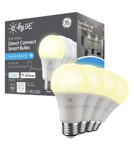C by GE Soft Direct Connect Light Bulbs (4 A19 Smart LED Light Bulbs), 60W White
