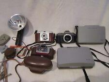 VINTAGE LOT OF 5 CAMERAS Polaroid, Pentax, Kodak, Bertram + Accessories