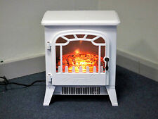 White 1800W Electric Fireplace Heater Portable Log Burner Flameless Fire Place