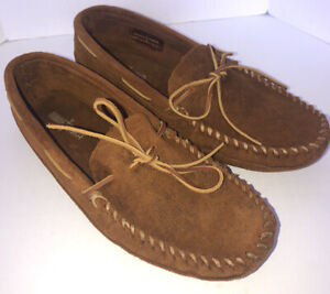 MINNETONKA Men's Brown Suede Slip On Moccasins Sz 11 Excellent Condition