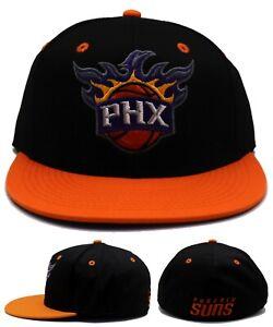 Phoenix Suns NBA by Adidas PHX Black Orange Flex Fit Fitted Era Hat Cap S/M