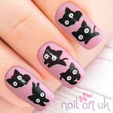 Black Cat Water Decal Nail Art Stickers, Decals, Tattoos