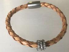 Rings Magnetic Closure Bangle Bracelet Capiz Lovely Leather Rope Twist Diamante